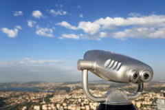 Sky Viewing machine with Bosphorus background Royalty Free Stock Photography