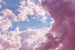 Sky. Violet clouds with blue light  in bright sky Royalty Free Stock Photography