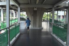 The sky walk way to BTS station stock image