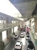 Sky walkand traffic jam in BKK Royalty Free Stock Images