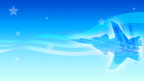 Sky war background. Blue background with stars, lines and abstract images of air fighter and missiles Vector Illustration