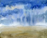Sky watercolor painting texture. Art landscape background with rainy clouds and field. Sky watercolor painting texture. Art landscape background with rainy Stock Image