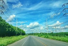 Sky. Way road tree cable Stock Images