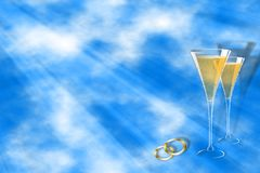 Sky wedding. Ready to use template with sky background , sun rays , champagne glasses and wedding bands .Lots of room to write stock illustration