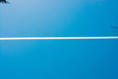 Sky with white  acloudy line. Blue clear sky with white  acloudy line Stock Photo