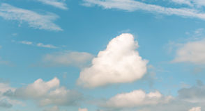 Sky. White and brown color on clouds in blue green sky Royalty Free Stock Image