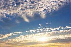 Sky. White cloud line and sunshine Stock Photo