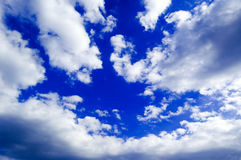 The sky and white clouds. The blue sky and beautiful clouds Stock Photos