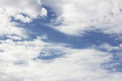 Sky with white clouds on sunshine day stock image