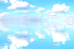 Sky, white clouds and water Royalty Free Stock Image