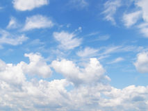 Sky and white different clouds Royalty Free Stock Photo