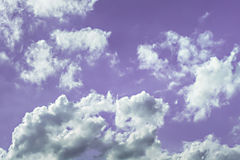 Sky. White and gray clouds in purple light sky Stock Photography