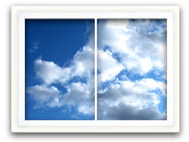 Sky Window. Window view to blue sky with white clouds Royalty Free Stock Photo