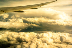 The sky wing. Wing on the plane was flying above the clouds Royalty Free Stock Photos
