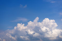 Sky with wispy cumulus clouds. Fluffy cumulus clouds on the blue sky stock photos