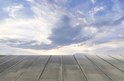 Sky and wood floor background Royalty Free Stock Photography