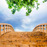 The sky and the wooden bridge Royalty Free Stock Image