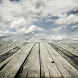 Sky and wooden deck background Royalty Free Stock Photo