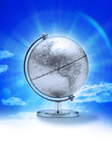 Sky World Globe North America. A globe showing North America and South America with a glowing sky in the background Royalty Free Stock Image