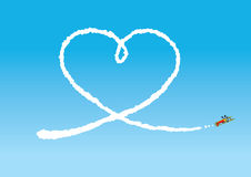 Sky Writing. A loved up pilot's writing a message in the sky royalty free illustration