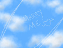 Sky Writing - MARRY ME. MARRY ME and a heart and arrow written (in a white smoke trail) in the clear blue sky full of fluffy clouds (all rendered Royalty Free Stock Photo
