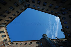 The sky of yard-well. Saint-Petersburg, Russia Royalty Free Stock Photos