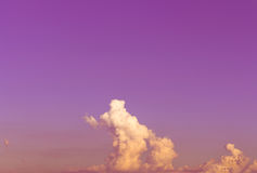 Sky. Yellow and orange low cloud in purple and pink sky Royalty Free Stock Photography