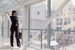 Skybridge Businesswoman - Horizontal Stock Photo