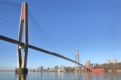 Skybridge nueva Westminster, Columbia Británica fotos de archivo libres de regalías