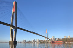 Skybridge nya Westminster, British Columbia royaltyfria foton