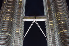 Skybridge of Petronas Twin Towers at night Stock Photo