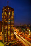 Skyscraper at night. A skyscraper in the night in Buenos Aires Royalty Free Stock Images