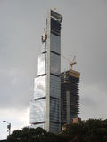 Skycraper建造场所在波哥大,哥伦比亚 免版税库存照片