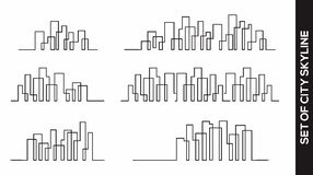Collection of city Skyline vector design concept stock illustration