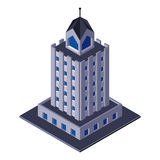 Skycraper-Geschäftszentrum-Gebäude, Büro, für Real Estate-Broschüren oder Netz-Ikone isometrisch Stockfoto