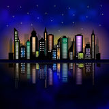 Skycrapers. City skyline. City vector illustration. On dark background Royalty Free Stock Photography