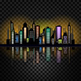 Skycrapers. City skyline. City vector illustration on checked background Stock Images