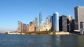 Skycrapers of New York. From the river stock footage