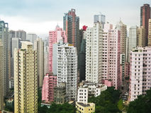 Skycrapers pink and white in Hong Kong Stock Image