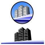 Skycrapers on the sea. Stylized illustrations representing some skycrapers on the sea. Image usable as logos or project about real estate Royalty Free Stock Photography