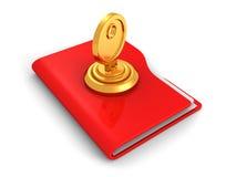 Skydd av databegreppet, av den röda kontorsmappen och av låstangenten Arkivfoto