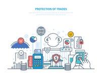 Skydd av handel, investeringen och auktioner Finansiell aktiemarknad, e-kommers stock illustrationer