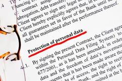 Skydd av personliga data Royaltyfri Fotografi