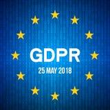 Skydd för allmänna data RegulationGDPR Data 25 kan 2018 Bakgrund för säkerhetsteknologi EG sjunker stock illustrationer