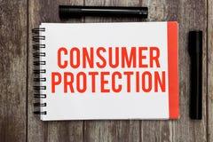 Skydd för konsument för ordhandstiltext Affärsidé för att lagar för ganska handel ska se till skydd för konsumenträtter royaltyfri bild