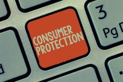 Skydd för konsument för ordhandstiltext Affärsidé för att lagar för ganska handel ska se till skydd för konsumenträtter royaltyfri fotografi