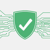 Skydda med kontrollen markerar gears symbolen Skydds- och antivirusbegrepp Säkerhets- och säkerhetssystemsymbol Royaltyfria Bilder