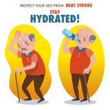 Skydda sig från värmeslaglängden, det hydratiserade staget royaltyfri illustrationer