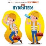 Skydda sig från värmeslaglängden, det hydratiserade staget vektor illustrationer