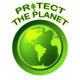 Skydda världen indikerar planeten över hela världen och globalisering Arkivbilder